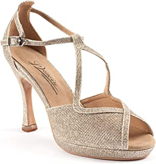 Dancine Glitz Party Evening Hybrid High Heels,Wedding Ballroom Bachata Dance Shoes,Patent Rubber Out Sole,10CM/3.9