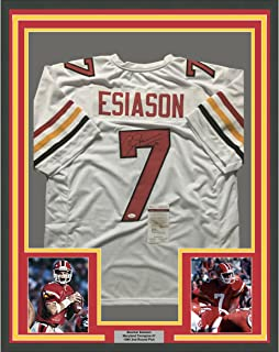 Framed Autographed/Signed Boomer Esiason 33x42 Maryland Terrapins White College Football Jersey JSA COA