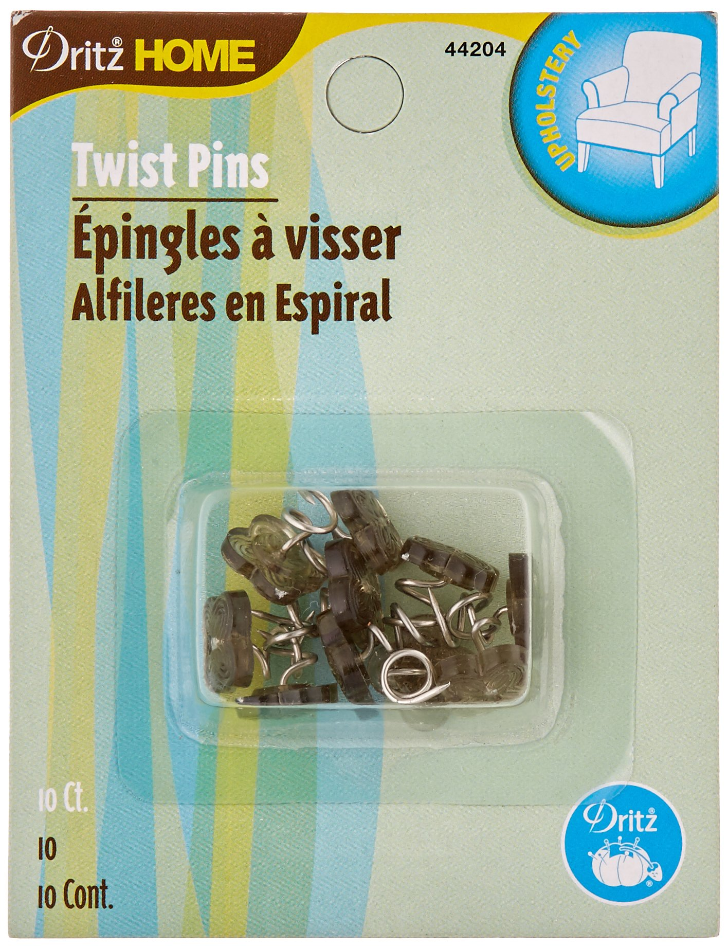 Dritz Home 44204 Twist Pins with Decorative Heads, Smoke Tint (10-Piece)