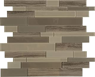 "Peel and Stick Glass Backsplash Tiles (Brown Glass Marble Mosaic) - Box of 10 Tiles: 11.4"" X 11.6"" Each"