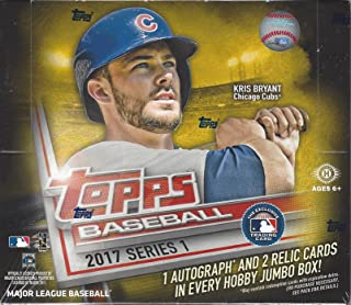 2017 Topps Series 1 Baseball Cards Hobby Jumbo Box (10 Packs of 50 Cards, Rainbow Parallels, 1 autograph and 2 relic cards)