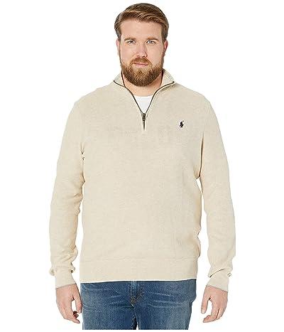 Polo Ralph Lauren Big & Tall Big Tall Textured 1/4 Pullover Sweater (Oatmeal Heather) Men