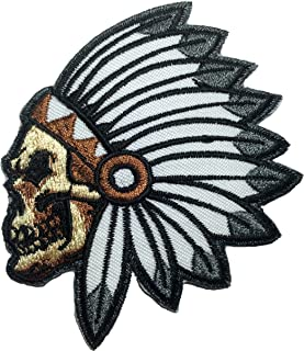 Feathered Indian Chief Head Death Skull Embroidered Sew Iron on Patch (RR-IRON-SKUL-HEAD-INDI-AN01)