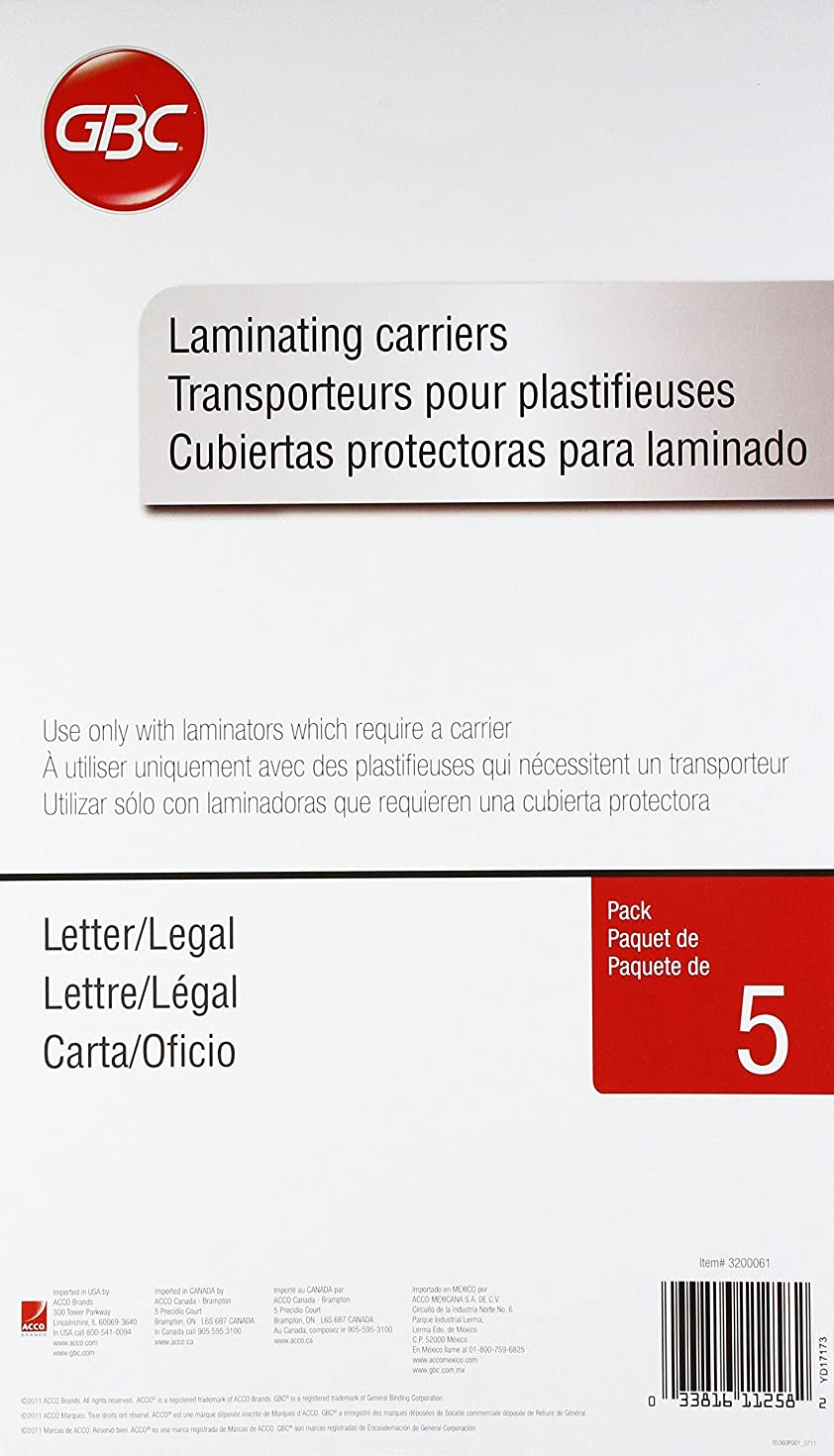 Swingline GBC Laminating Carriers, Self Seal Adhesive Laminating Pouches, Letter/Legal Size, 5 Pack (3200061)