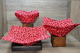 Microwave Bowl Cozies, Set of 3, 1 Small Bowl Cozy, 1 Medium Bowl Cozy and 1 Dinner Plate Cozy, Contemporary Polka Dots