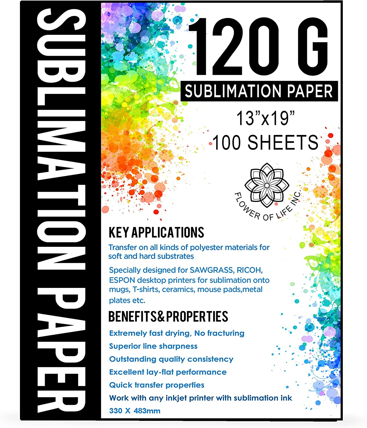 Extremely Fast Dry Transfer Rate 120 GSM Compatible with any inkjet printer with sublimation ink 100 Sheets Sublimation Paper A4 Size 8.5x11 Inches