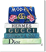 The Oliver Gal Artist Co. Glam Wall Art Canvas Prints 'Doll Memories-Modern Bag and Fashion Books' Home Décor, 36