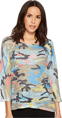 Nally & Millie - Colorful Camoflauge 3/4 Sleeve Top