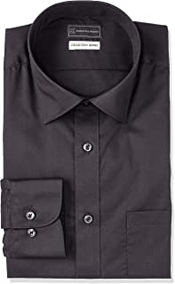 [ピーエスエフエー] 黒 ショートレギュラーカラーシャツ スリムモデル 長袖 形態安定 ストレッチ 着心地抜群 メンズ M151180148