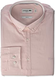 Lacoste Men's L/S Slim Fit Solid Stretch Pinpoint Button Down Woven