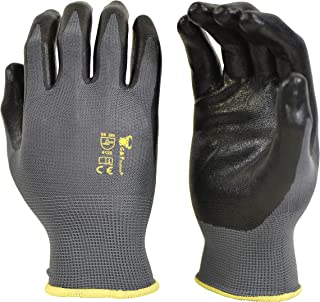 G & F 15196XL Seamless Nylon Knit Nitrile Coated Work Gloves, Garden Gloves, Black, X-Large, 6 Pair Pack