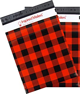 Inspired Mailers - Poly Mailers 10x13 - Red Buffalo Plaid - 100 Pack - Choose from 6x9, 10x13 and 14.5x19 Sizes - 3.15mil Unpadded Shipping Bags (10x13, 100 Pack)