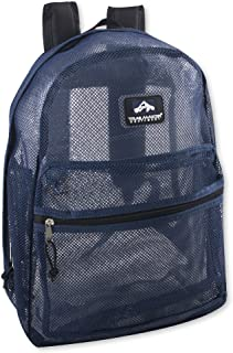 Trailmaker Transparent Mesh Backpack for School, Beach, and Travel, with Padded Shoulder Straps (Blue)