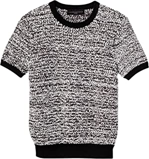 Victoria Beckham Women's Black and White Short Sleeve Sweater Knit Top