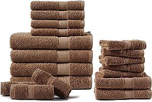 CHATEAU HOME COLLECTION 100% Combed Cotton 600 GSM 18-Piece MochaBath Towels Set, Absorbent,Bath Towel Sets for Bathroom,Shower Towels(4 Bath Towels, 6 Hand Towels & 8 Wash Cloths) - Mocha