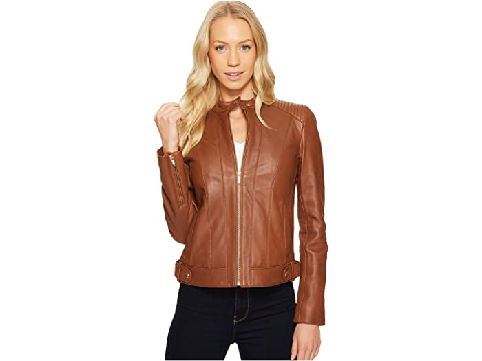 Cole Haan Womens Racer Jacket with Quilted Panels