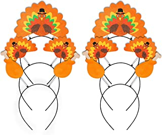 Geefuun 6PCS Thanksgiving Turkey Headband Decorations - Party Head Boppers Accessories Trot Race Costume Decor Favors for ...
