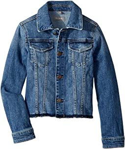 Manning Mid Wash Distressed Denim Jacket with Raw Hem (Big Kids)