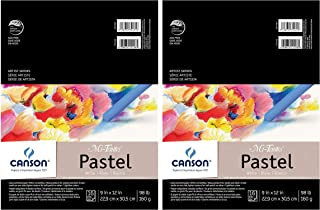 2-Pack - Canson Mi-Teintes Pastel Paper Pad, White with Glassine, Dual Sided Light and Heavy Texture, Top Wire Bound, 98 P...
