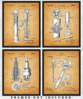 Vintage Auto Mechanic Tools Patent Wall Art Prints: Unique Room Decor for Boys, Girls, Men & Women - Set of Four (8x10) Unframed Pictures - Great Gift Idea Under $20