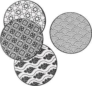 Lot de 4 fait main céramique dessous de verres-tapis de fleurs