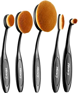 Oval Makeup Brush Set Professional Oval Toothbrush Foundation Contour Concealer Eyeliner Blending Cosmetic Brushes Tool (Black 5 Pcs)