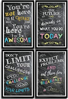 Motivational Posters for Classroom, Office Decorations, Inspirational Wall Art, Perfect for Students, Teachers, School, Kids Room & Home. Chalkboard Positive Quotes Poster Designs. Set of 4 11x17in.