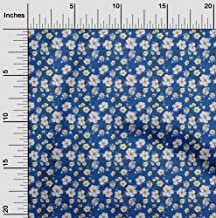 oneOone Cotton Cambric Blue Fabric Sunflower Floral Dress Material Fabric Print Fabric by The Yard 42 Inch Wide