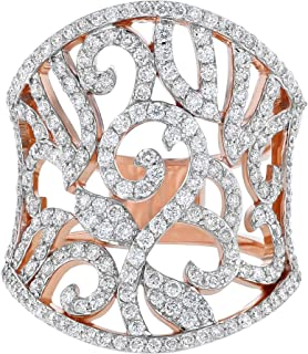 Olivia Paris IGI Certified 14k Rose Gold Victorian Classic Diamond Ring for Women (G-H, SI1-SI2)