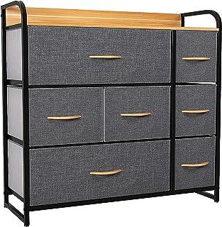 YITAHOME Commode 7 tiroirs, Commode Chambre Adulte en Tissu, Meuble de Rangement vêtements, avec Cadre en métal, Dessus en...