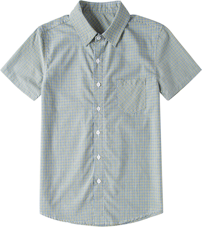 Tronjori Boys' Short Sleeve Low Ranking TOP5 price Woven Down Shirt Button