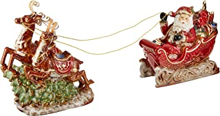white porcelain santa sleigh and reindeer