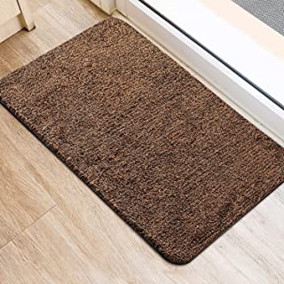 Delxo 2020 Upgrade Doormat Super Absorbent Mud Doormat 18x30 Inch No Lint Shedding Durable Anti-Slip Rubber Back Low-Profile Entrance Large Cotton Shoe Scraper Pet Mat Machine Washable (Dark Brown)