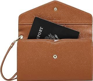 Krosslon Travel Passport Holder Wallet for Women RFID Blocking Document Organizer Tri-fold Wristlet Bag, 210# Caramel