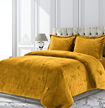 Tribeca Living Venice Velvet Oversized Solid Duvet Set, Queen, Gold (VENICEDUVTQUGOL)