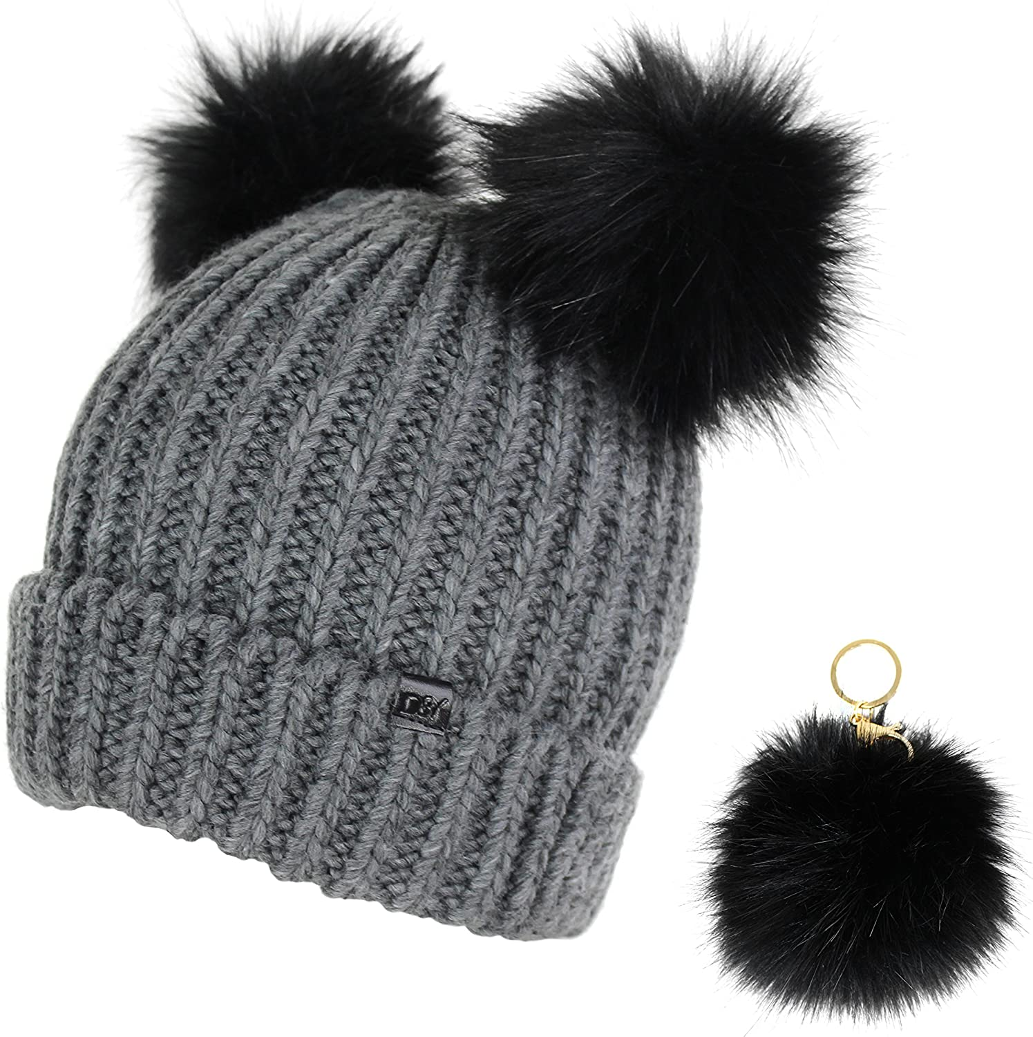 Elliott and Oliver Co. Trendy Cuff Winter Chunky Knit Beanie Hat with Double Faux Fur Pom Pom Bear Ears & Key Chain