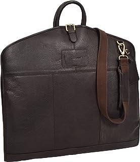 Luxury Leather Suit Carrier Slimline Travel Garment Dress Bag Keswich Brown