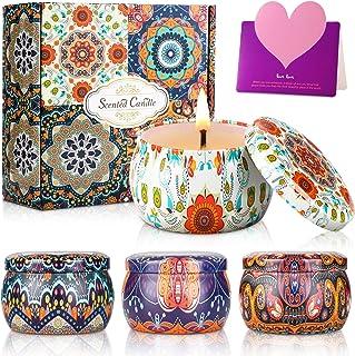 Wilbest® 4 Pcs Velas Perfumadas, Velas Aromaticas, Velas de Aroma de Cera de Soja para Aromaterapia, Baño, Yoga, Masajes, ...