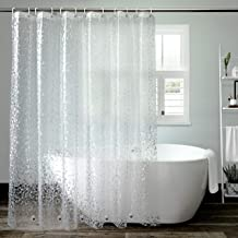 Clear Shower Curtain Liner, AooHome EVA Cobblestone Pattern Bathroom Curtain with Hooks, Mildew Resistant, Waterproof, 180...