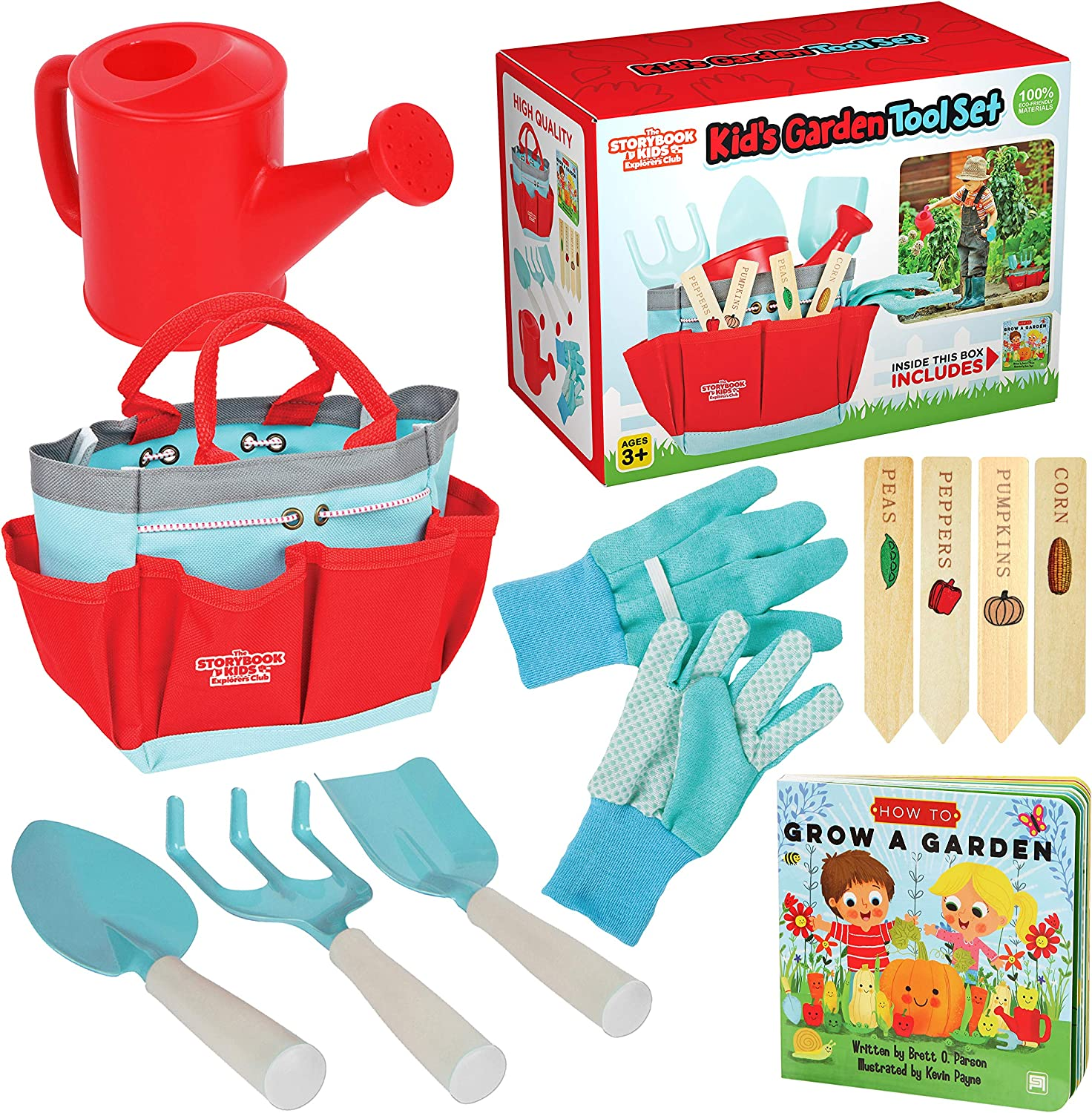 Clever Kid Toys Kids Gardening Set Includes Sturdy Tote Bag, Watering Can, Shovel, Rake, and Trowel - Kids Garden Tools : Toys & Games