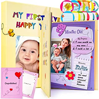 Baby Memory Book for Girls and Boys - First Five Years Photo Album, Baby Scrapbook, Babys First Year Keepsake Journal - Table of Contents & Bookmark - Baby Memories Book Gift Box and Baby Shower Card