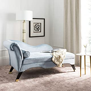 Safavieh Home Collection Caiden Slate Blue Velvet and Espresso Chaise, Black