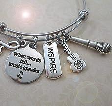 Singer Songwriter Bangle Bracelet, When Words Fail Music Speaks, Guitar, Microphone Charm Gift, 3 Sizes, Small, Medium or ...