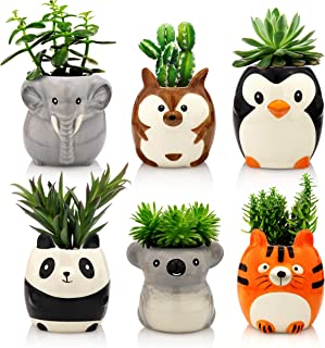 Animal Ceramic Succulent Planters Set of 6 | 2.5 Inch Small Cactus Pots with Drainage Hole Cute Gift Penguin Koala Panda Tiger Elephant Kangaroo (Safari Animals)