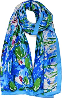 ELEGNA Women 100% Silk Art Collection Scarves Long Shawl Hand Rolled Edge
