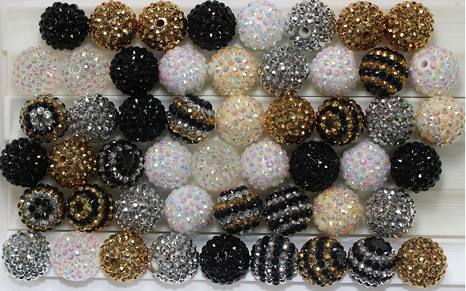 20mm Mix of 52 Black, White, Silver, Gold Cream Rhinestone Chunky Bubblegum Beads 9 Colors Resin Gumball Loose Beads Lot