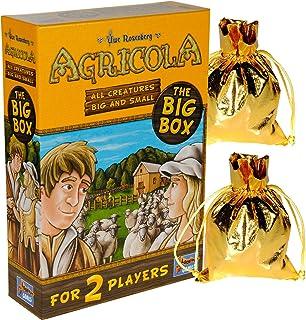 Agricola Game All Creatures Big & Small (Big Box) 2 Player Stand Alone || Bonus 2 Gold Metallic Cloth Drawstring Storage Pouches || Bundled Items