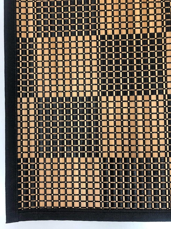 TEJIDOS EL MUNDO Alfombra Pasillo Bambu Cuadros 67x240 cm Gris