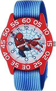 MARVEL Boys Spider-Man Analog-Quartz Watch with Nylon Strap, Blue, 16 (Model: WMA000178