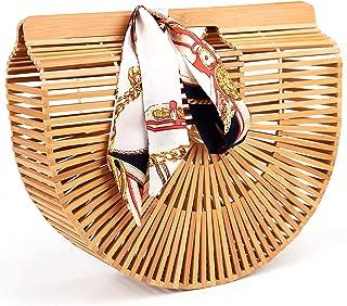 Bamboo Handbag Handmade Tote Bag Handle Straw Beach Bag for Women By Samuel (12.59